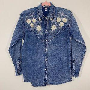 Vintage   Blue Acid Wash Bead Embellished Blouse